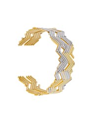 Charlotte Valkeniers Cluster Bangle Gold Plated Sterling Silver Glass Metallic