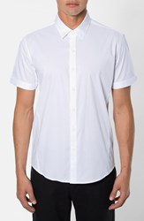 Men's 7 Diamonds 'Feel Free' Trim Fit Short Sleeve Stripe Stretch Woven Shirt White