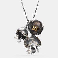 Coach Large Studded Tea Rose Necklace Silver Gold