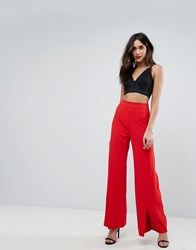 Naanaa High Waist Trousers With Front Split Red