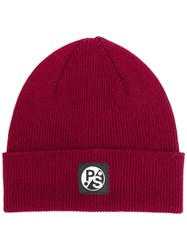 Paul Smith Ps By Ribbed Beanie Red