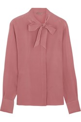 Bottega Veneta Pussy Bow Silk Crepe De Chine Blouse Antique Rose