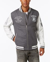 Sean John Men's Multi Patch Denim Varsity Jacket Jackson Wash