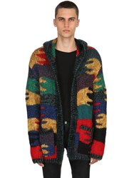 Saint Laurent Camouflage Wool Blend Jacquard Cardigan Multicolor