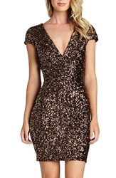 Women's Dress The Population 'Zoe' Sequin V Neck Body Con Dress Antique Gold