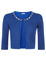 Kaliko Embellished Neck Cardigan Mid Blue