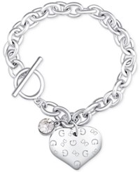 Guess Heart Charm Toggle Link Bracelet Silver