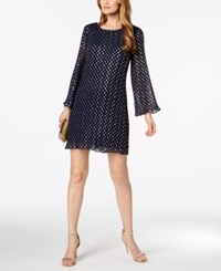 Msk Metallic Polka Dot Pleated Chiffon Dress Navy Gold