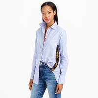 J.Crew Petite Sequin Side Stripe Shirt In Blue