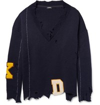 Raf Simons Oversized Distressed Virgin Wool Sweater Navy