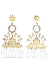 Elizabeth Cole 24 Karat Gold Plated Faux Pearl And Crystal Earrings White