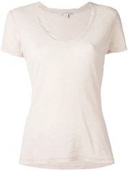 James Perse V Neck T Shirt Women Cotton 2 Nude Neutrals