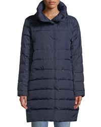 Eileen Fisher Quilted Stand Collar Cocoon Coat Petite Midnight