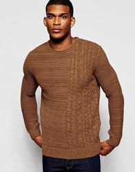 River Island Cable Knit Jumper With Crew Neck In Brown Darkrust