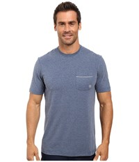 Travis Mathew Clay Heather Dark Denum Men's Short Sleeve Knit Blue