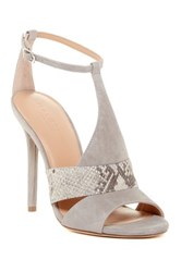 Halston Connie Snake Embossed Heeled Sandal Gray
