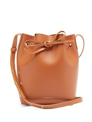 Mansur Gavriel Pink Lined Mini Leather Bucket Bag Tan