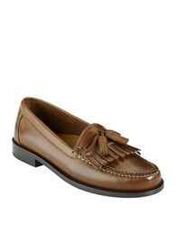Cole Haan Fringed Leather Loafers Tan