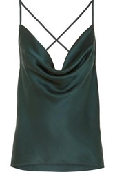 Cami Nyc The Jacqueline Draped Silk Charmeuse Camisole Green