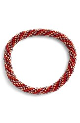 Women's Aid Through Trade Roll On Beaded Stretch Bracelet Red Gold Swirl