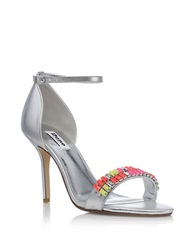 Dune Helenat Glitz Leather Stilettos Silver Multi