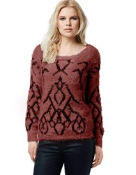Buffalo David Bitton Betran Fuzzy Metallic Embroidered Sweater Merlot