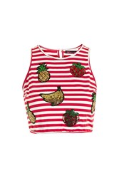 Kuccia Sequin Fruit High Neck Crop By Red