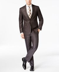 Kenneth Cole Reaction Slim Fit Brown Micro Check Suit 203Brown