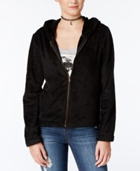Belle Du Jour Juniors' Fuzzy Hoodie And Graphic T Shirt Set Black