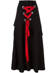 Nocturne 22 Red Lace Detail Skirt Black