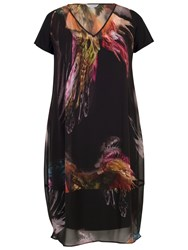 Chesca Feather Print Dress Black