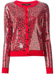 Sibling Sequinned Geometric Cardigan Red