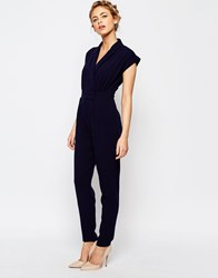 Closet Wrap Front Jumpsuit With Narrow Leg Navy