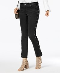 Inc International Concepts Curvy Fit Lace Up Skinny Jeans Created For Macy's Deep Black