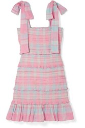 Loveshackfancy Belle Smocked Tiered Checked Cotton Voile Mini Dress Pink
