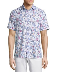 Etro Paisley Short Sleeve Sport Shirt White Blue Navy