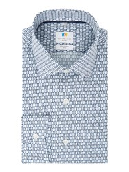 Richard James Men's Mayfair Sketchy Hexagon Slim Fit Shirt Navy