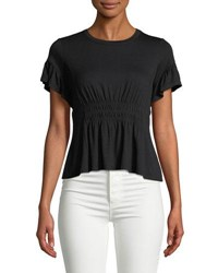 Romeo And Juliet Couture Short Sleeve Smocked Waist Tee Black