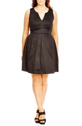 City Chic Plus Size Women's 'Mod Madness' Notch Neck Fit And Flare Dress