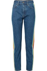 Palm Angels Striped Grosgrain Trimmed High Rise Slim Leg Jeans Blue