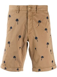 Sun 68 Palms Embroidery Shorts Neutrals