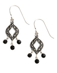 Lord And Taylor Sterling Silver Marcasite Drop Earrings Onyx Silver