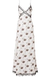 Brock Collection Onorina Lace Trimmed Floral Print Taffeta Maxi Dress Light Gray