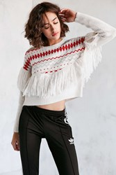 Ecote Party Fringe Sweater Cream Multi