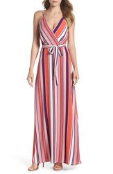 Charles Henry Belted Cami Maxi Dress Coral Blush Purple Stripe