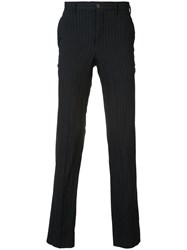 Comme Des Garcons Homme Plus Pinstripe Tapered Trousers Blue