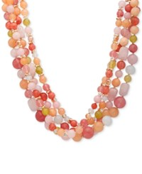 Anne Klein Gold Tone Multi Stone Beaded Triple Row 18 Torsade Necklace