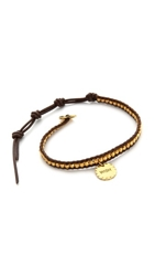 Chan Luu Wish Charm Bracelet Yellow Gold Brown