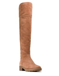 Michael Michael Kors Whitaker Sherpa Lined Suede Knee High Boots Luggage