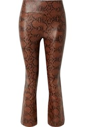 Sprwmn Cropped Snake Effect Leather Flared Pants Snake Print